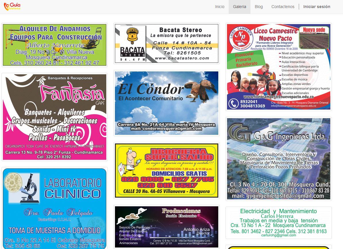 En la página web ingresamos los patrocinadores de la Gruía telefónica para incrementar su presencia web