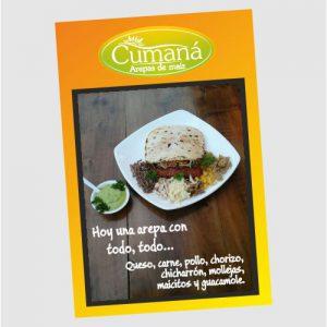 Diseño e impresión de menú para pared en el restaurante