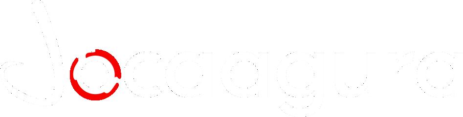 Logotipo Jocaagura blanco para usarse en fondos negros